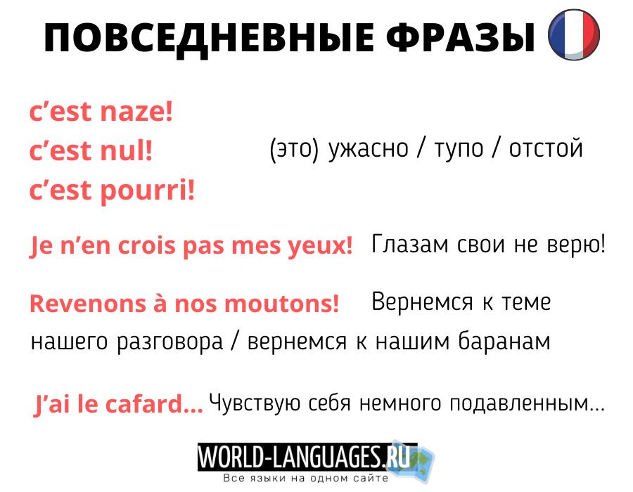 Повседневные фразы для общения на французском