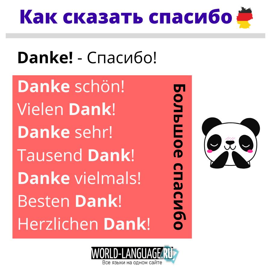 Как сказать спасибо на немецком языке