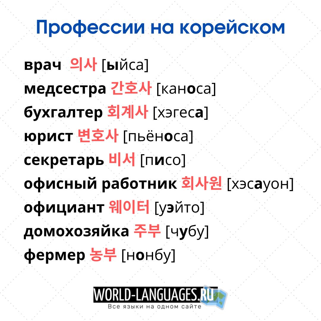 Профессии на корейском языке